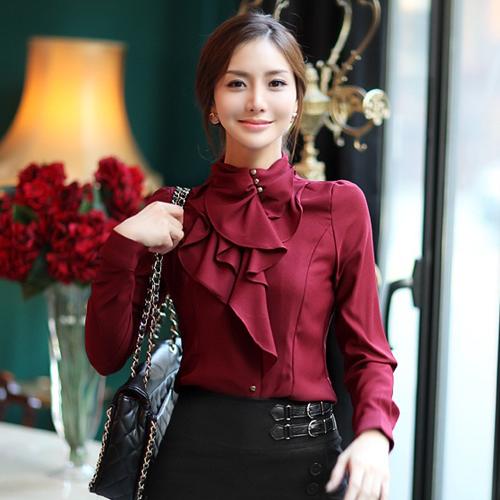 Versi Korea dari perempuan kerah stand-up flounced kemeja putih lengan panjang kemeja (Q653