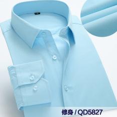 Versi Korea dari pernikahan Slim bisnis putih kemeja pria kemeja (Biru NAVY)