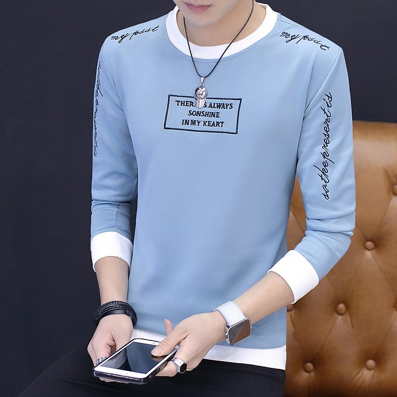 Flash Sale Versi Korea dari pullover baru musim gugur Qiuyi pria sweater (Biru muda)