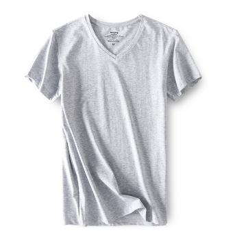 Gambar Versi Korea dari putih lengan pendek pria t shirt (Bunga abu abu) 5ff59346d7