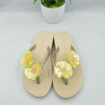 Versi Korea dari sandal jepit sandal datar di luar ruangan dengan sandal berpayet dan sandal (