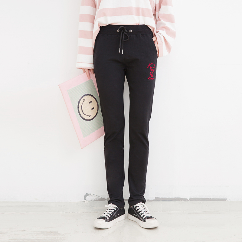 Cheap online Versi Korea dari siswa kasual longgar Wei celana celana olahraga baru (Burung hantu satu hitam) (Burung hantu satu hitam)
