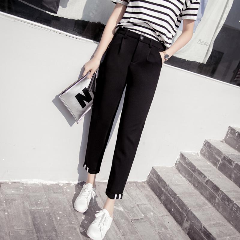 Cheap online Versi Korea dari siswa perempuan kaki celana harem stoking celana (Hitam) (Hitam)