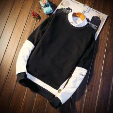Versi Korea dari siswa Slim lapisan tipis leher bulat pullover sweater ( Hitam)