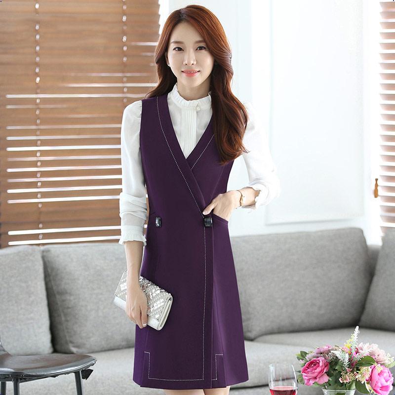 Versi Korea dari wanita Slim kecantikan pramugari pakaian rompi Gaun (Ungu gaun tanpa lengan)