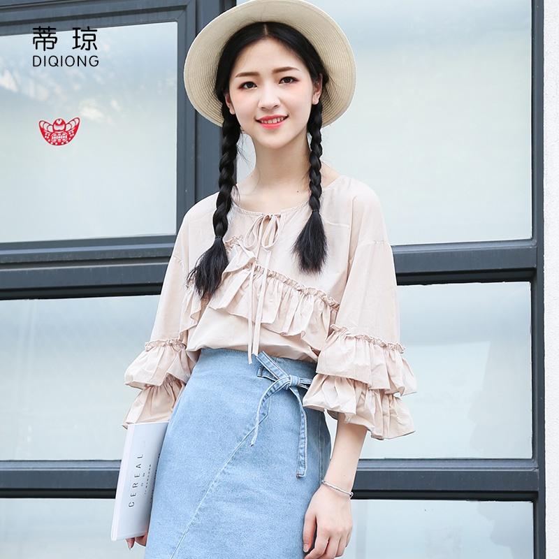 Versi Korea dari warna solid musim panas renda longgar flounced blus (Beige)