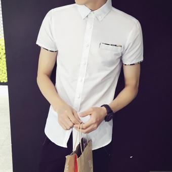 Versi Korea laki laki lengan pendek siswa remaja kemeja putih kemeja Putih DS02 .