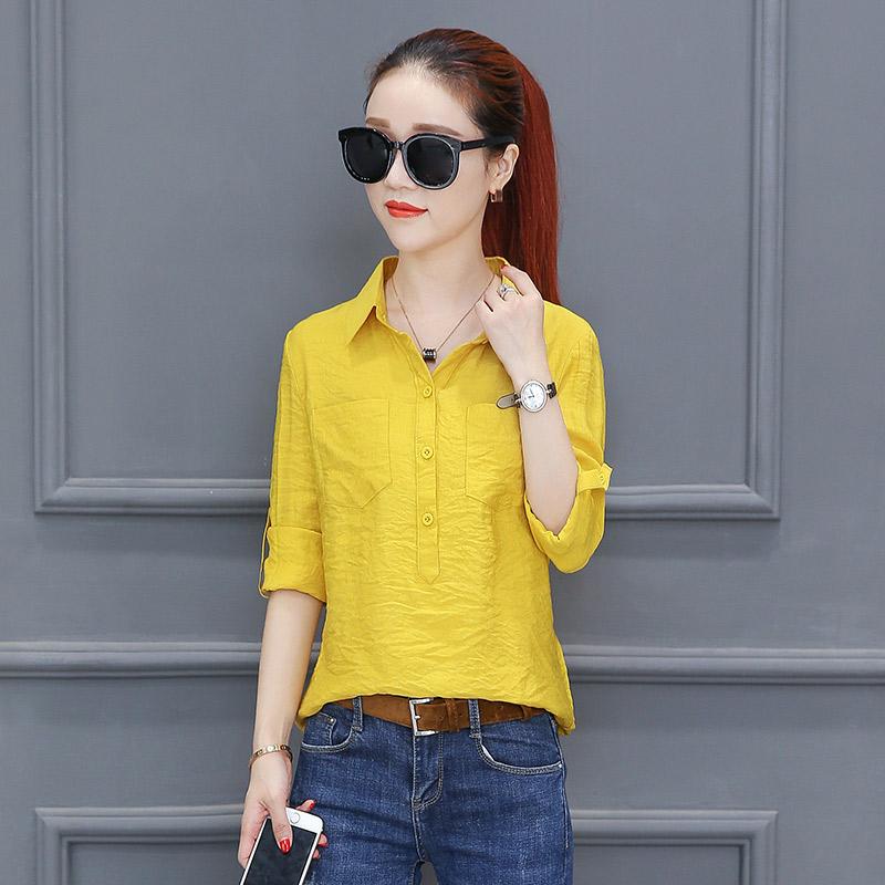 Versi Korea perempuan lengan panjang baru siswa blus kemeja putih (Kuning)