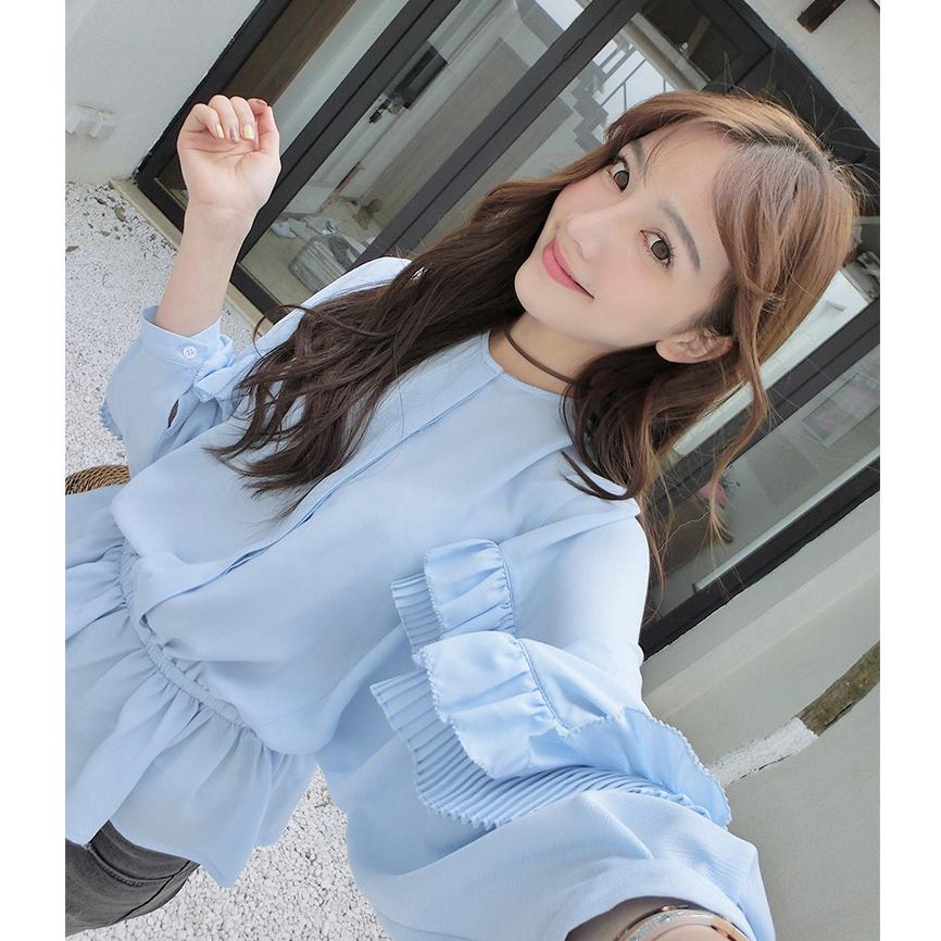 ... Versi Korea perempuan lengan panjang flounced lentera lengan sifon Wawa Shan kemeja Biru