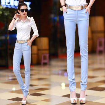 Dunayskiy Wanita Hitam Biru Tinggi Pinggang Longgar Denim Jeans Kasual Ankle-Length Celana Panjang dengan