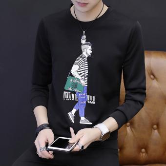 Gambar Versi Korea pria lengan panjang baru t shirt sweater (Hitam)