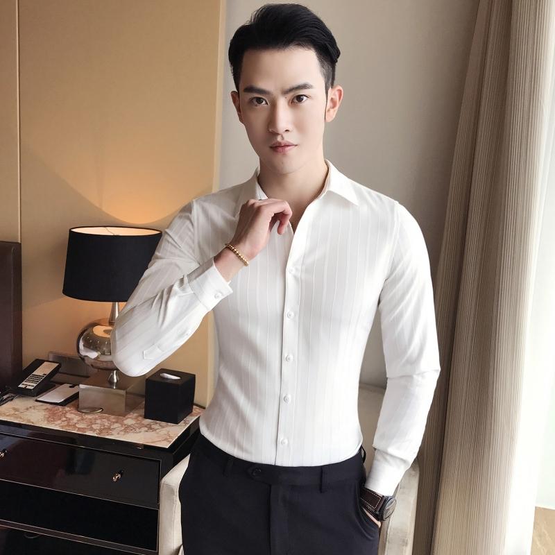 Versi Korea pria lengan panjang Slim lengan panjang kemeja kemeja kasual ( Putih)