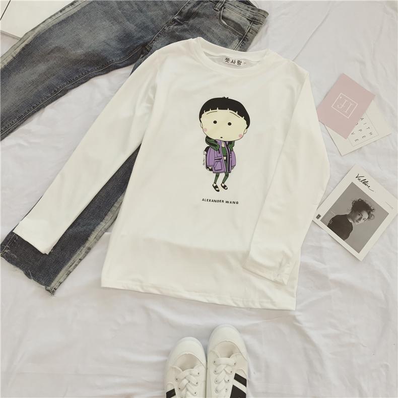 Cheap online Versi Korea putih baru mahasiswa kemeja t-shirt (Putih [ungu pakaian