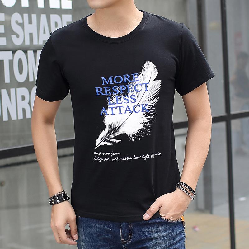 Versi Korea putih leher bulat longgar lengan pendek t shirt Bulu hitam .
