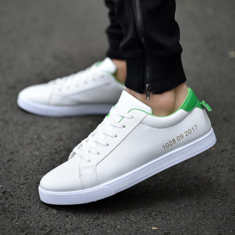 Versi Korea putih sepatu pria, sepatu kasual pria (Putih dan hijau)