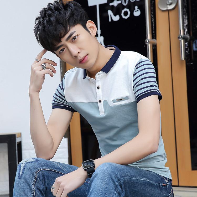 ... Bisnis Kerah Kemeja T Shirt 9960 Biru Tua. Versi Korea Slim remaja t shirt kemeja POLO 9009 biru muda