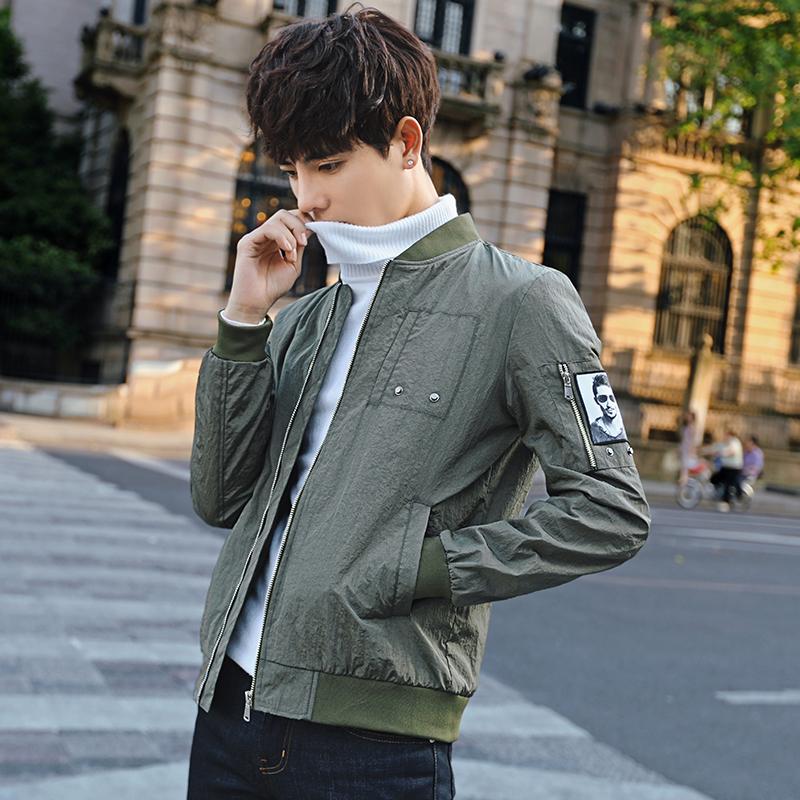 Flash Sale Versi Korea yang baru Slim bagian tipis kemeja pendek jaket (Tentara hijau)