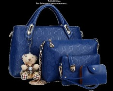 Vicria Tas Branded Wanita - Korean Style 4in1 High  Quality - Biru