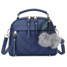 Vicria Tas Branded  Wanita With Pom pom - High Quality PU Leather Korean Elegant Bag Style - Biru  Tua