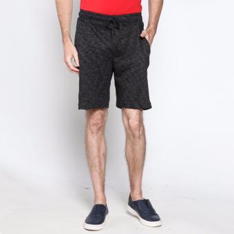 vm celana pendek pria terry santai hitam short pant