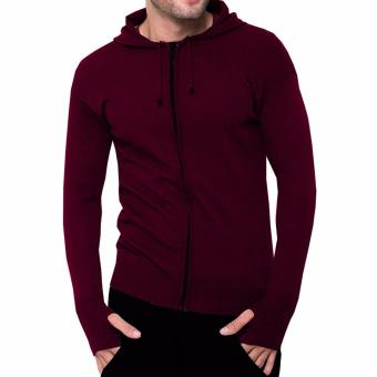 VM Sweater Long Knit Zipper Hoodie Rajut Merah Maroon