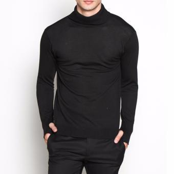 VM Sweater Rajut Polos panjang Krah Tinggi Hitam