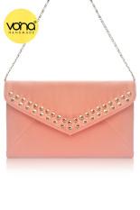 VONA Dicha (Peach Pink) - Tas Wanita Pesta Silver Studded Clutch Envelope Handbag Kecil Tali Rantai