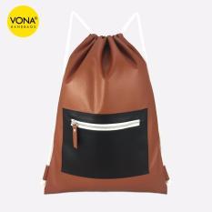 VONA Parker (Cokelat Hitam) - Best Seller New Tas Punggung Serut Ransel Sekolah Pria Wanita Drawstring Backpack Gym Bag Kulit Sintetis PU Leather Fashion Trendy