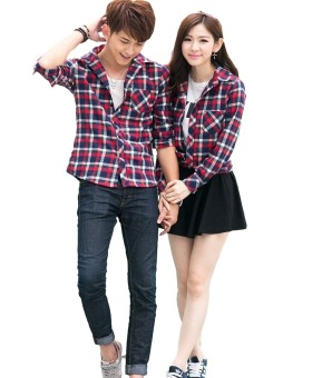 Vrichel Collection Kemeja Couple Square (Merah)