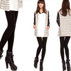Wanita celana musim dingin wol tebal memijakkan kaki celana Jeggings hangat elastis hitam - Internasional