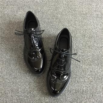wanita imitasi kulit dipoles oxford menunjuk sepatu datar aksenuntuk resmi bekerja ukuran 42-hitam -