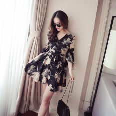 Wanita Kasual V-neck Ruffled Floral High Waist Chiffon Dress