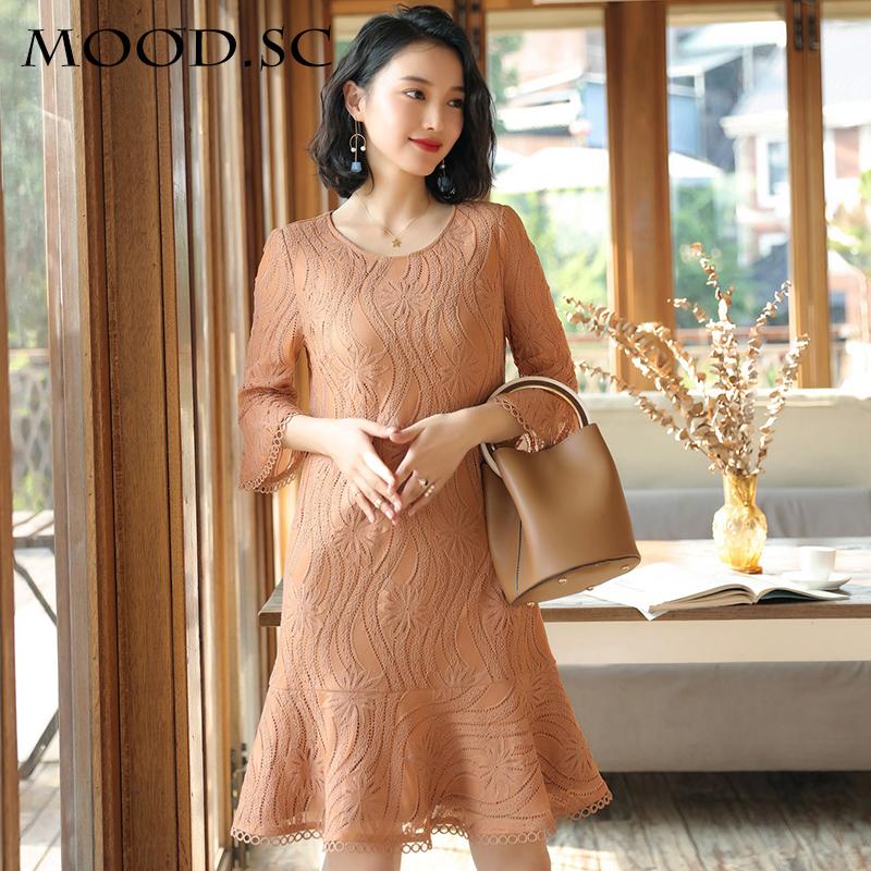 Wanita Korea Fashion Style baru perempuan style lengan panjang rok gaun (Cahaya warna kopi)