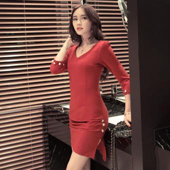 Anggaran Terbaik Wanita Korea Fashion Style Baru Temperamen V-neck Dress Paket Hip Rok (