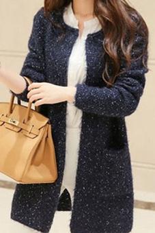 Wanita memakai Cardigan panjang lengan panjang kasual wanitalonggar saku sweter kardigan gugur musim dingin jaket tebal