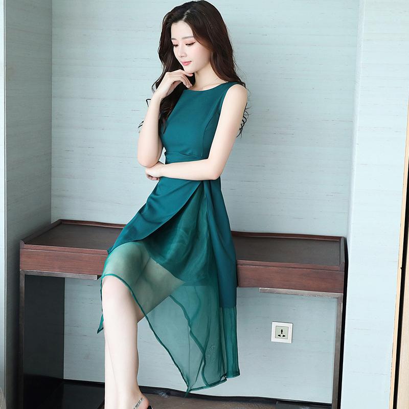 Wanita organza tanpa lengan wanita temperamen rok gaun (Hijau)