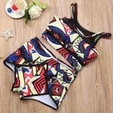Wanita Print Bikini Set Swimwear Push-Up Padded Bra Swimsuit Beachwear XL-Intl