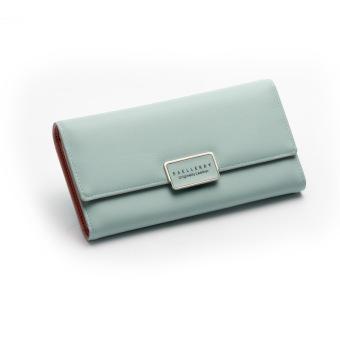 Wanita tiga kali lipat gesper Clutch tas baru wanita wallet (Kapulaga hijau)