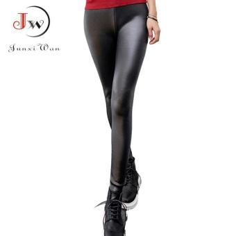 ... Wanita ukuran lebih Fashion kulit imitasi Legging Boots musim dingin hangat kaki tebal tipis Leggins Super ...