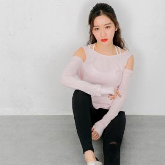 Warna baru awal musim semi kebugaran yoga benang kemeja t-shirt (Merah muda)