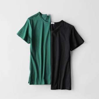 Gambar Warna Solid Musim Panas Siswa Muda Baju Dalaman (Leher bulat hijau gelap + hitam