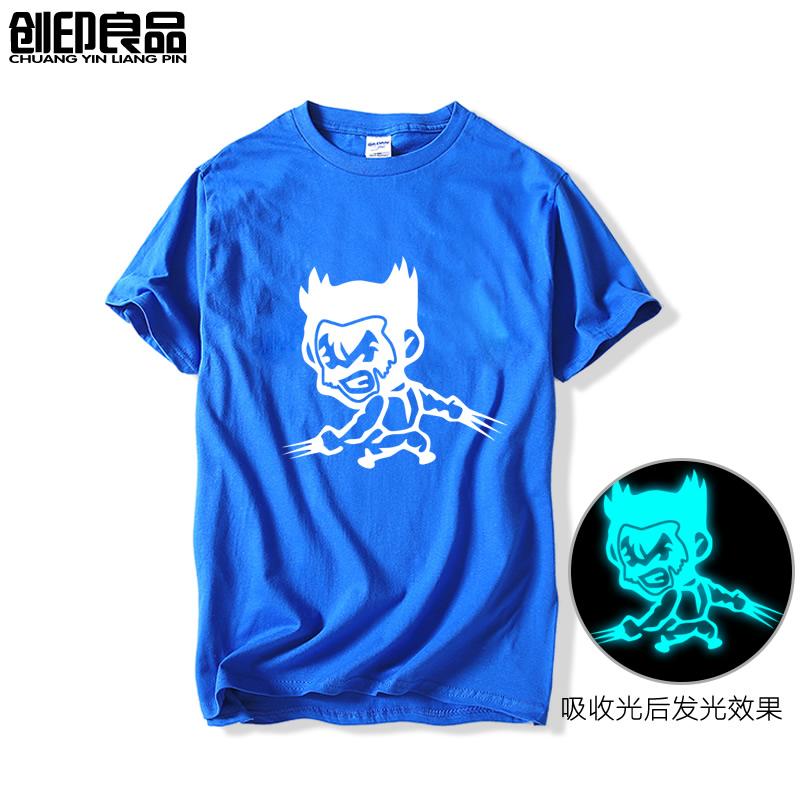 Flash Sale Wolverine Film Zhou Bian lengan pendek t-shirt (Biru bercahaya)