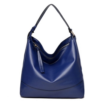 Women Casual Pu Leather Tote Bag Large Capacity Shoulder Bag(Blue)- intl
