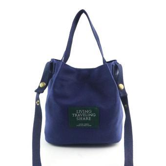 Women Fashion Canvas Travel Shoulder Bag Large Tote Ladies PurseDark Blue - intl