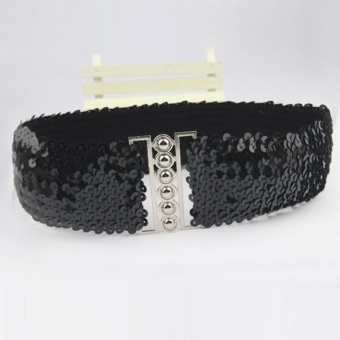Womens Fashion Waistband Vintage Elastic Stretch Buckle Sequins Wasit Belts GIFT