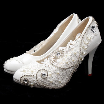 Women Lace Bead Crystal Wedding Shoes Bridal Bridesmaid shoe Heels Party Pumps