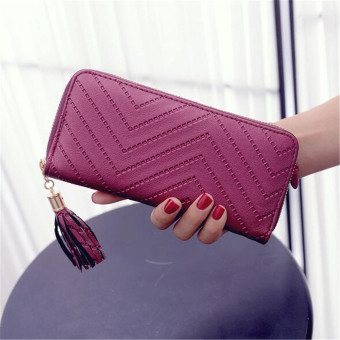 Women Lady Leather Long Wallet Clutch Checkbook Tassel Handbag Purse Card Holder Wine Red - intl