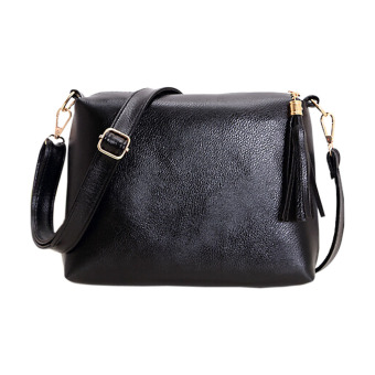Women PU Cross-Body Bag One Shoulder Bag Messenger Bag(Black) - intl