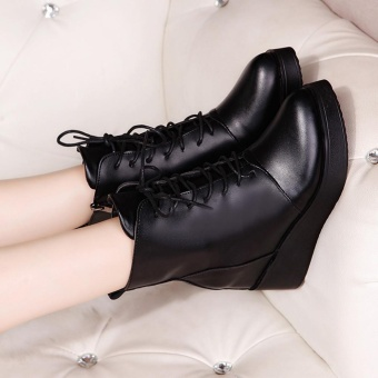 Women Sexy Platform Boots Fashion Punk Square Ankle Boots Black For Women Shoes - intl - 2