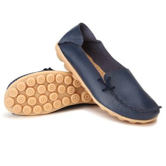 Women Shoes Leather Beanie Flat Shoes Summer Spring Autumn Slip-on Knot Non-slip Woman Ladies Soft Loafers Flats Dark Blue - intl - 5